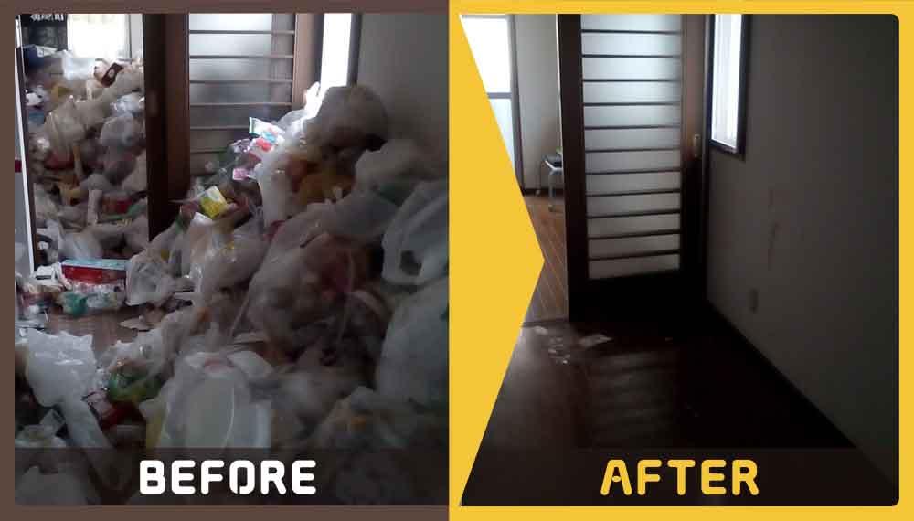 ゴミ屋敷化してしまったお部屋の片付けと不用品の処理をご希望のお客様からご依頼いただきました。